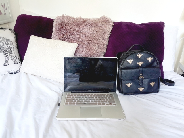 aloma writes lilac purple black gold laptop bag pillow cushion bed