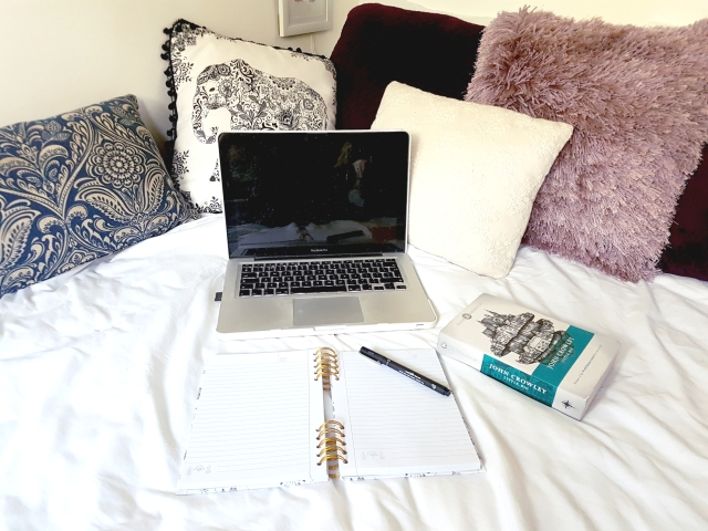 aloma writes lilac purple navy black turquoise laptop book pillow cushion bed open notebook