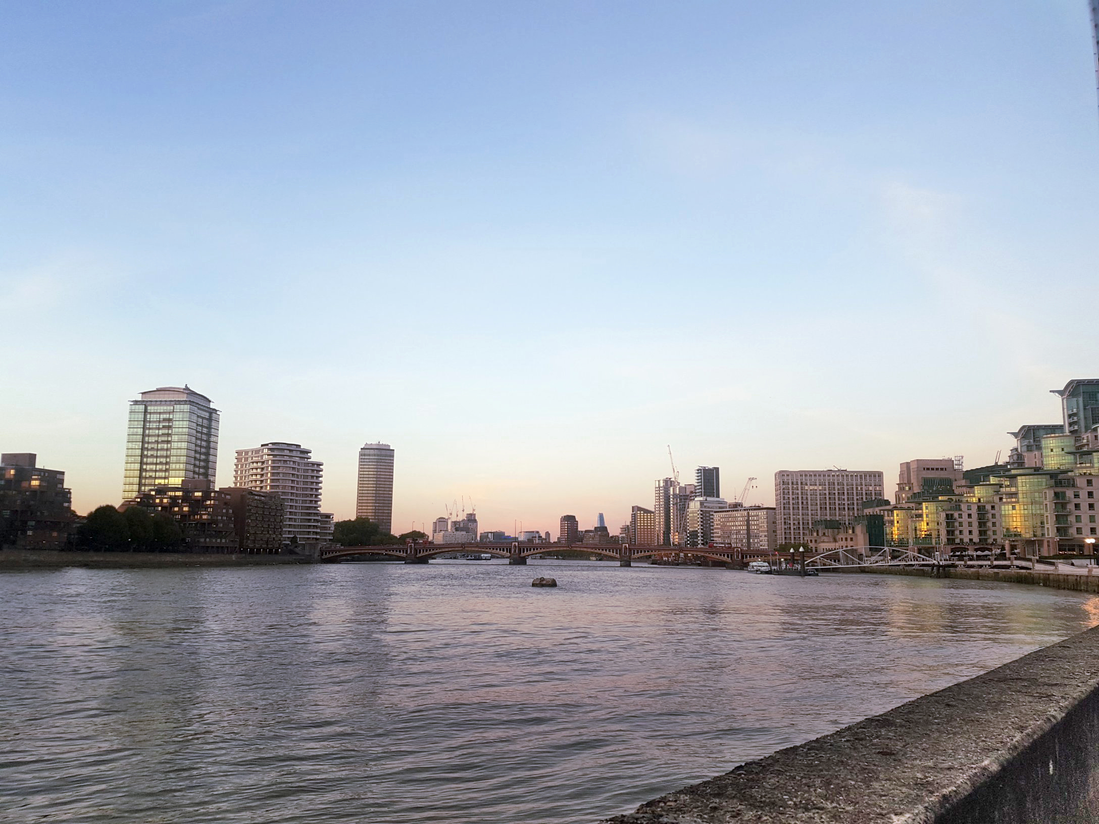 aloma writes vauxhall buildings cityscape river thames sky sunset blue pink grey green
